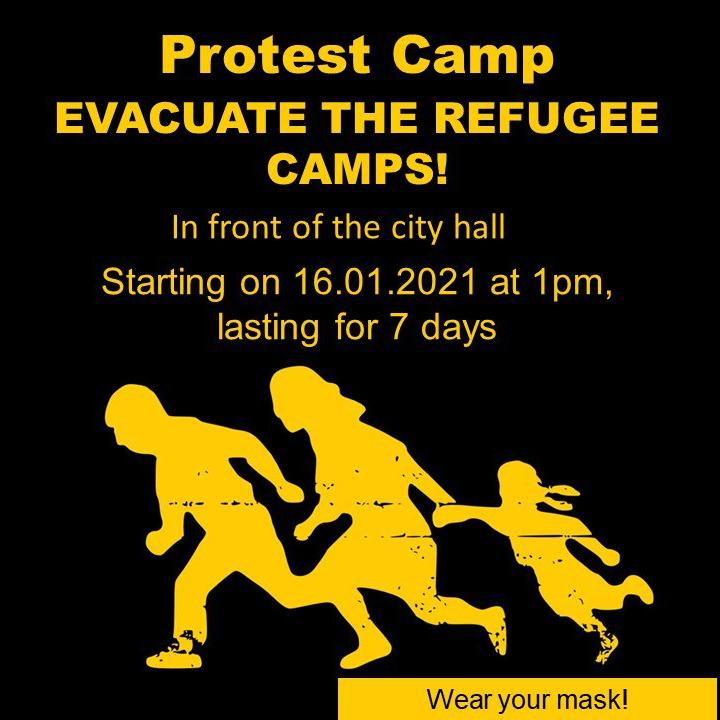 Symbol: Refugees Welcome mit Informationen zum Camp auf Englisch,